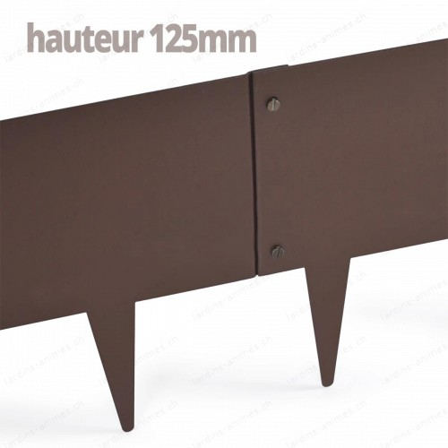 Bordurette Acier 1m - haut.125mm - marron