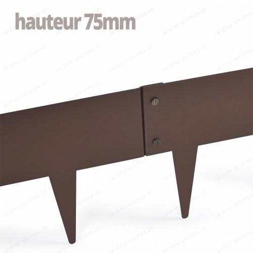 Bordurette Acier 1m - haut.75mm - marron