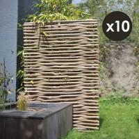 Panneau noisetier 120x180cm tressage horizontal X 10