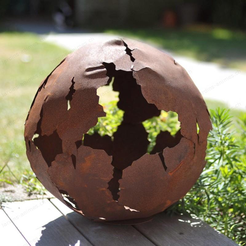 Boule en fonte 15cm for Boule metal deco jardin