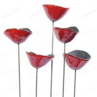 Coquelicot Rouge sur tige x5 diam 5