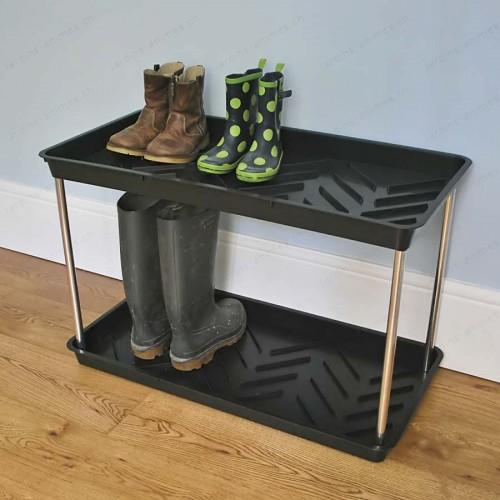 Plateau double étage égouttoir pour bottes et chaussures