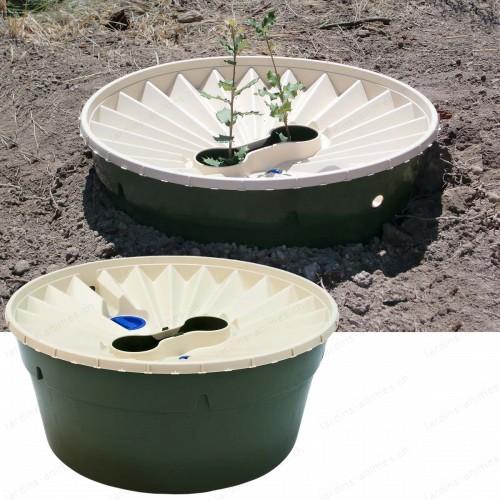 Lot de 2 Groasis Waterboxx, bac de plantation autonome + système protecteur de vent
