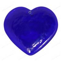 Coeur en verre fait main BLEU