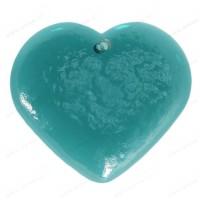 Coeur en verre fait main TURQUOISE