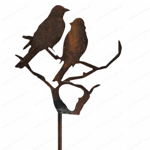 Silhouette oiseau sur branche en métal