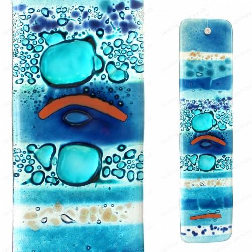Suspension en verre Fait main- bleu